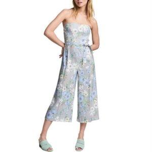 #63 New H&M Floral Jumpsuit Romper Small 4 Blue